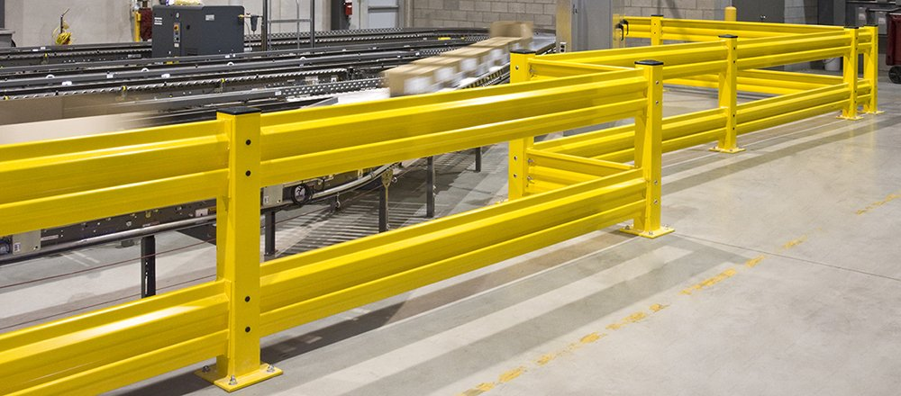 guard rail around conveyor belt system in ecommerce fulfillment center design