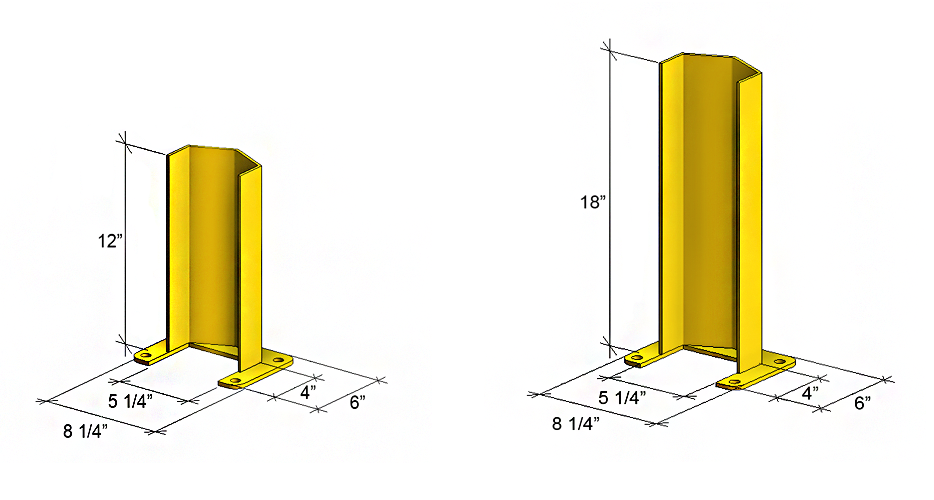 12 and 18 inch guard rail post protector measurements