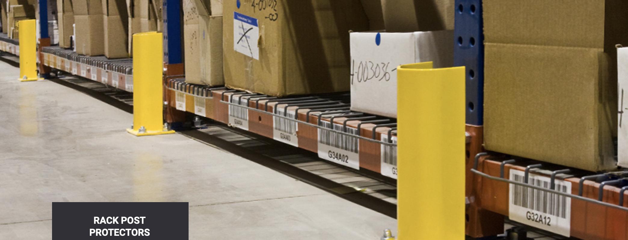yellow rack post protectors guarding warehouse pallet racks